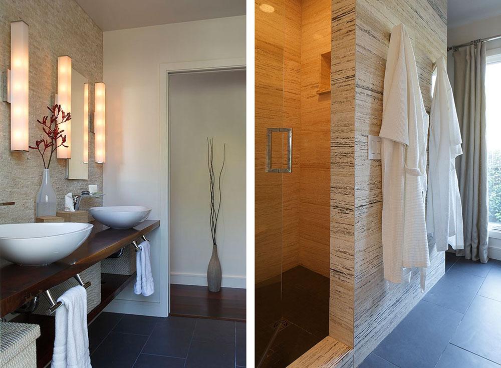 ห้องน้ำด้วยกระเบื้องหิน