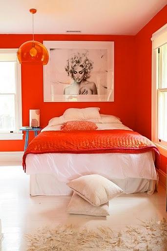 ตกแต่งห้องนอนโทนสีส้ม สดใส สไตล์วัยรุ่น