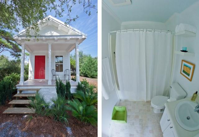 รูปซ้ายเป็นตัวบ้านภายนอกมุมตรง รูปขวาเป็นห้องน้ำโทนสีขาว
