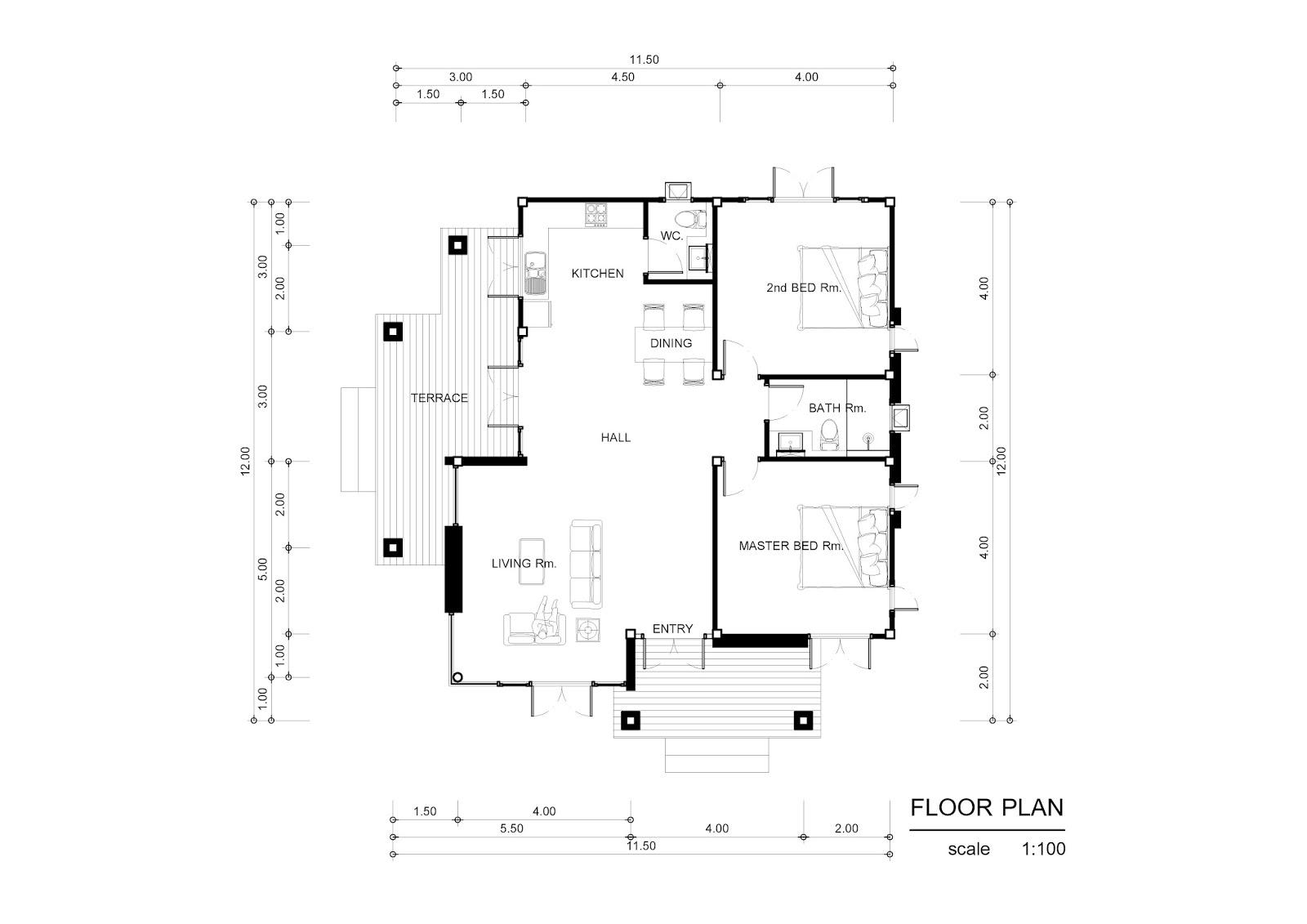 Floor Plan Drawing แบบบ้านชั้นเดียว 2 ห้องนอน 2 ห้องน้ำ งบล้านต้นๆ บ้าน แบบ