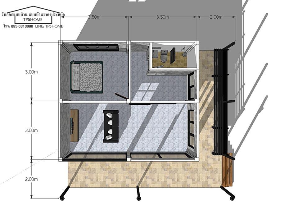 แปลนบ้าน 1 ห้องนอน 1 ห้องน้ำ